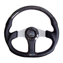 NRG Innovations | Steering Wheel | Carbon Fiber Silver Oval Shape