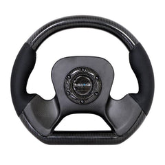 NRG Innovations | Steering Wheel | Carbon Fiber Leather Accent CF Center Plate Two Tone Carbon