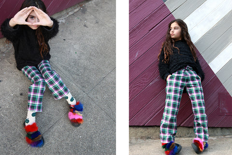 Blossomkind in Infantium Victoria Tartan Pleated Pants