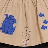MAGIC MENDING PRELOVED Beige Cotton Skirt with Submarine, 6 years