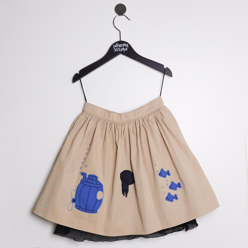 MAGIC MENDING PRELOVED Beige Cotton Skirt with Submarine, 8 years