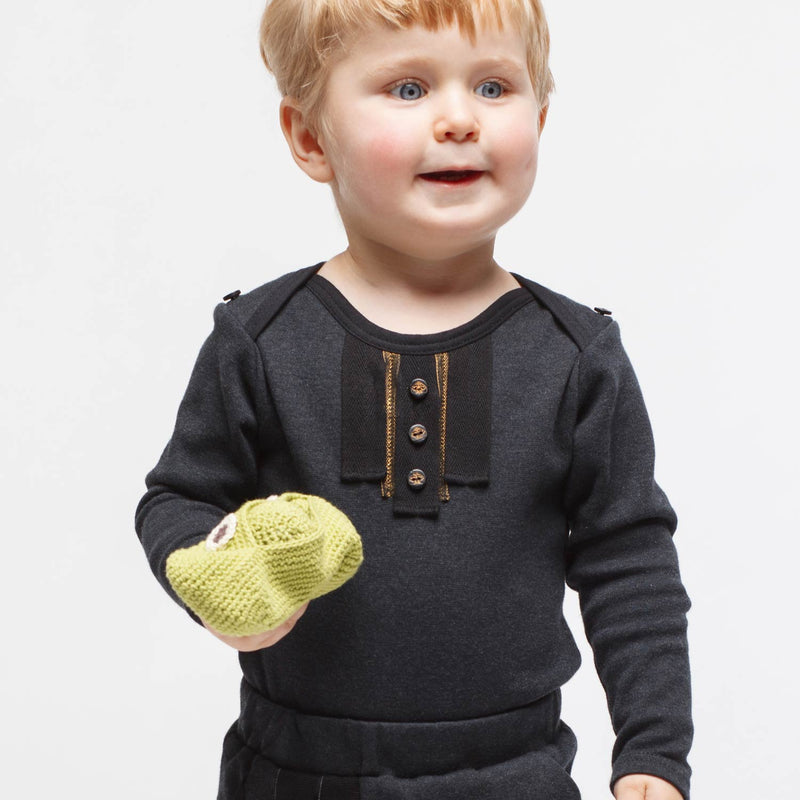 Black Onesie with Golden Trim