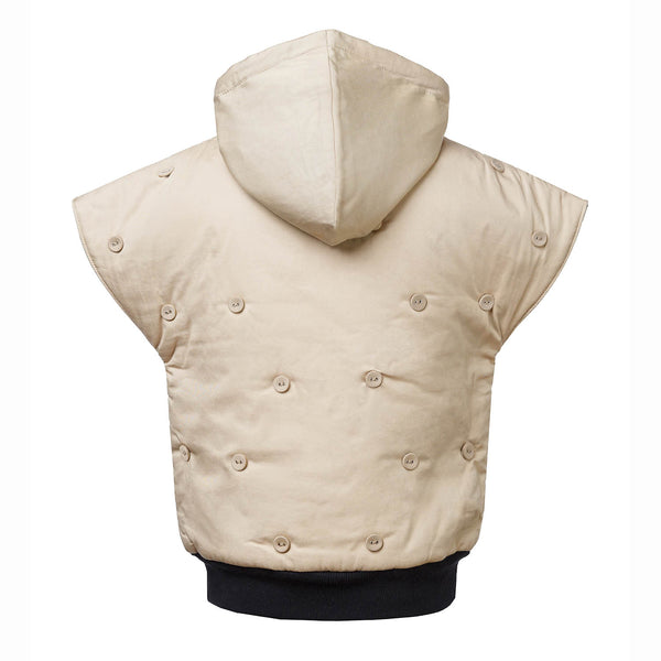 Beige Sleeveless Hoodie with Padding