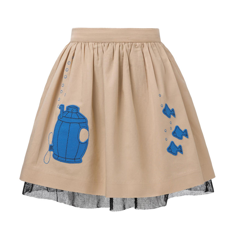 Beige Cotton Skirt with Submarine