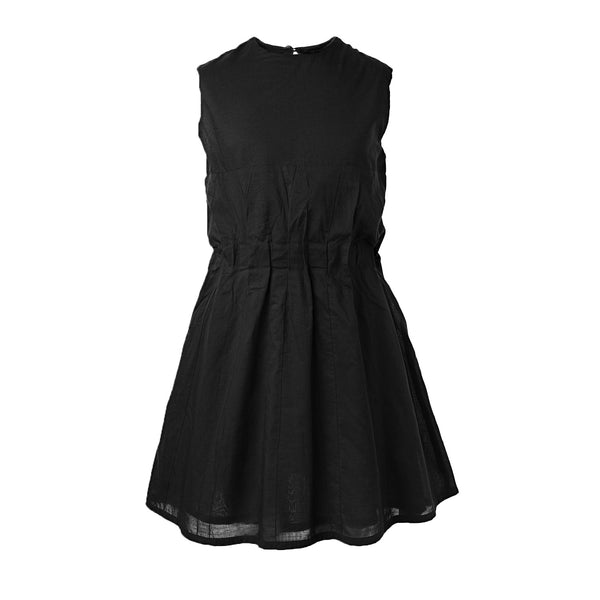 Black Cotton Dress with Pleats