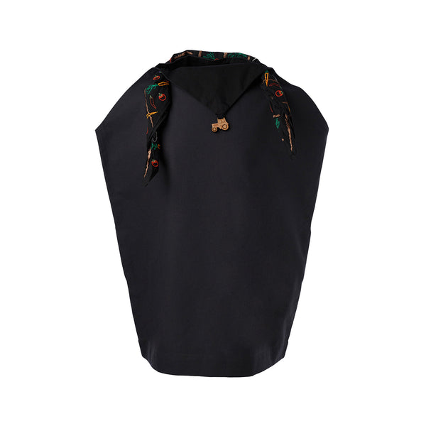 Black Handkerchief Dress with Embroidered Scarf
