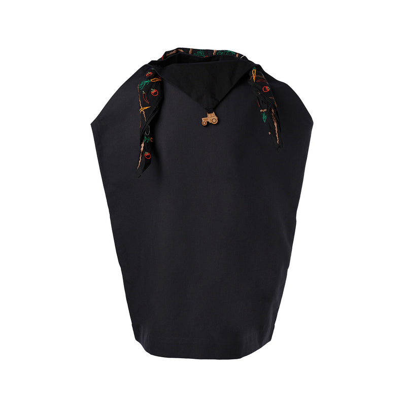 Women Black Handkerchief Dress with Embroidered Scarf
