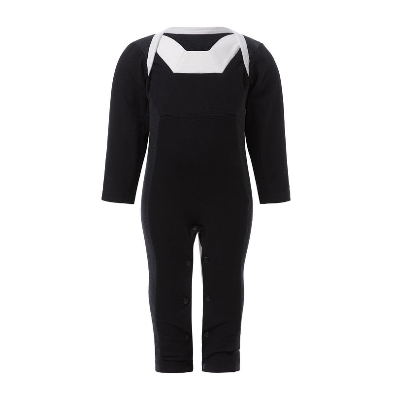 Black Overall Bodysuit with White Elements