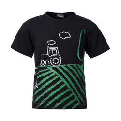 Short Sleeve Black T-Shirt with Tractor Print