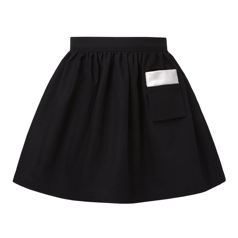 Black Cotton Canvas Skirt