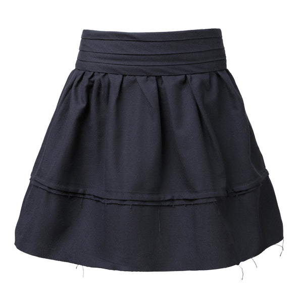 Black Mini Skirt with Pleated Belt