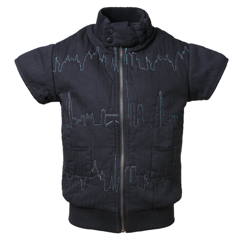 Padded Vest with Skyline Embroidery