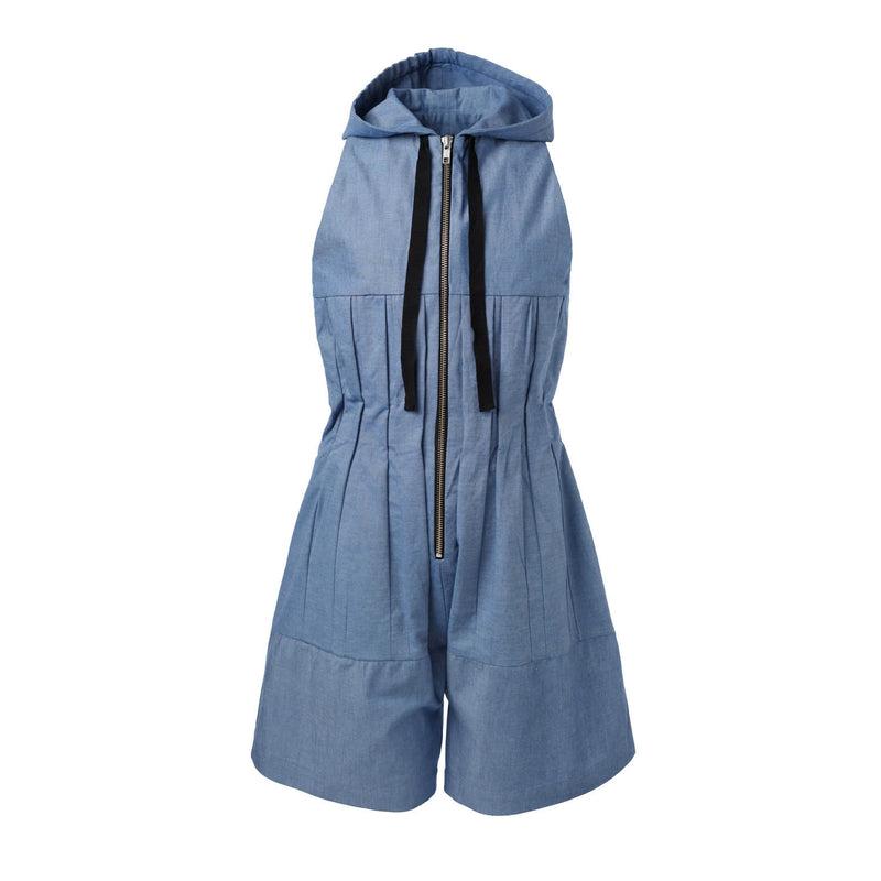Blue Denim Overall with Hood