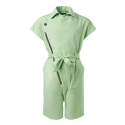 Green Cotton Overall with Asymmetric Front