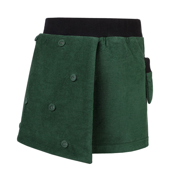 Green Velvet Skirt for Girls