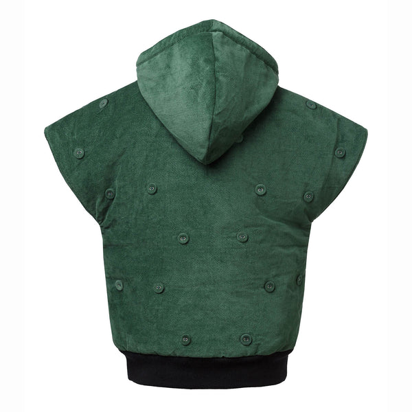Green Velvet Sleeveless Hoodie with Padding