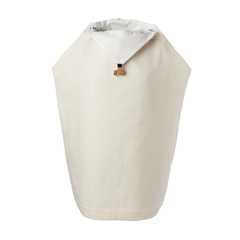 Off-White Handkerchief Dress with Embroidered Scarf
