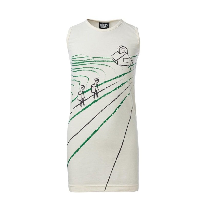 Off-White T-Shirt Dress with Rice Paddy