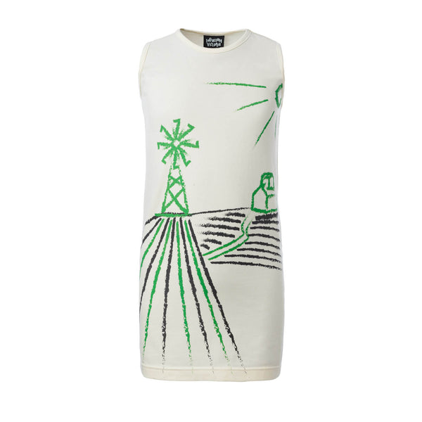 Off-White T-Shirt Dress with Wind Mill