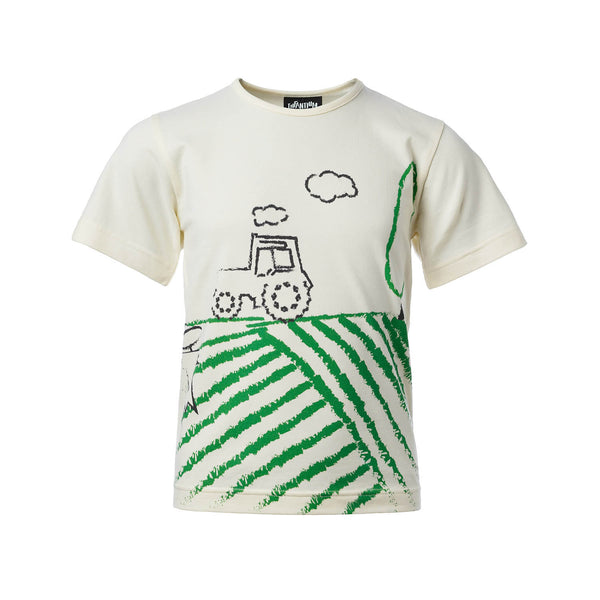 Off-White Short Sleeve T-Shirt with Tractor Print