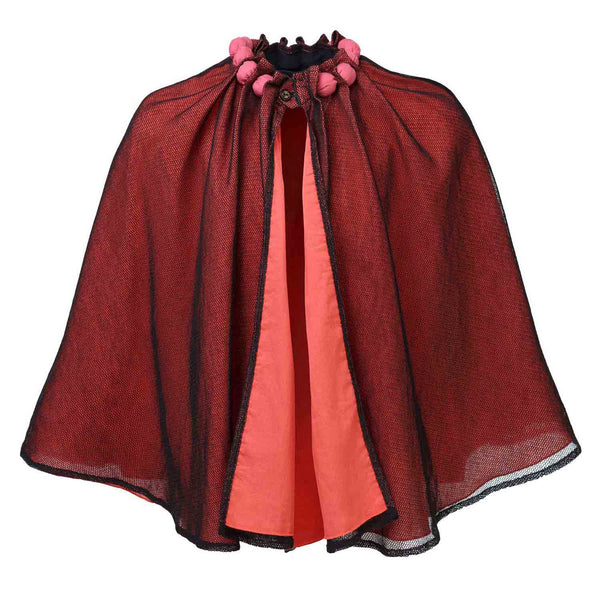 Cape with Cotton Beads and Mesh