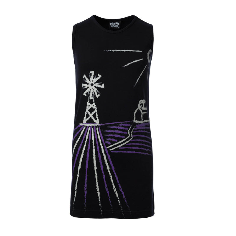 Black T-Shirt Dress with Wind Mill