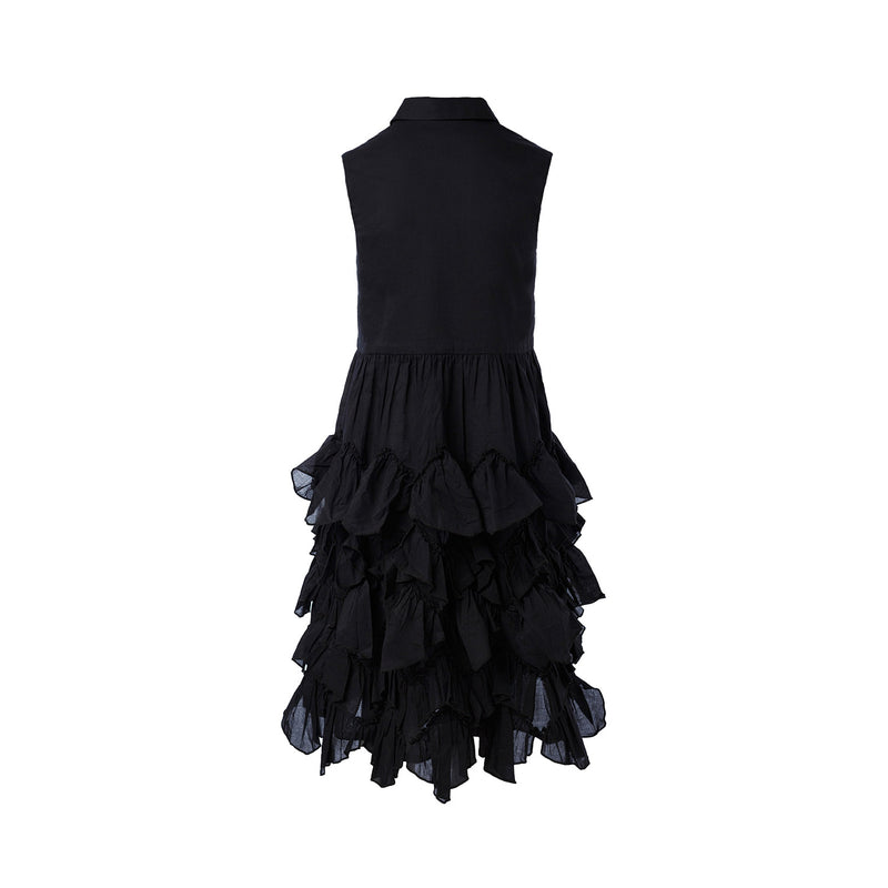 black shirt dress girls with ruffles, black cotton dress maxi dress for girls