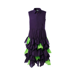 Purple Cotton Dress with Green Details