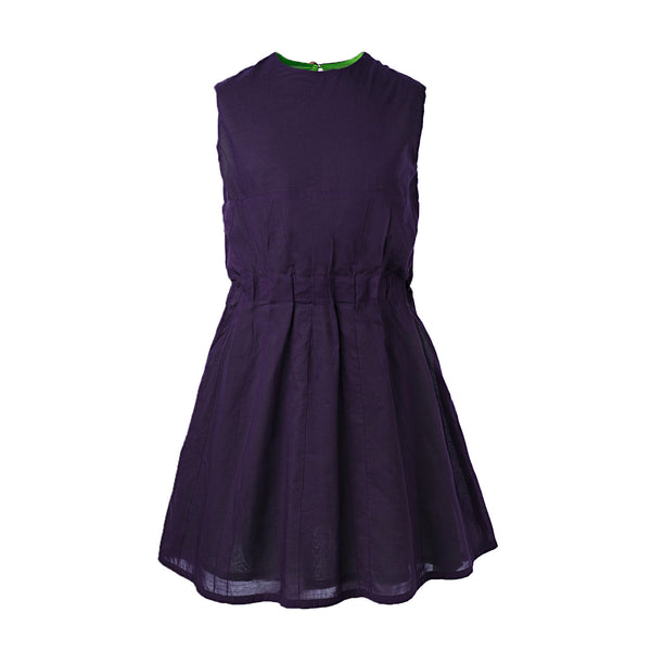 Purple Summer Dress with Pleats