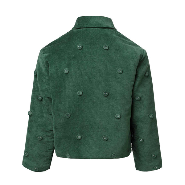 Padded Green Velvet Jacket - Organic Cotton Blazer