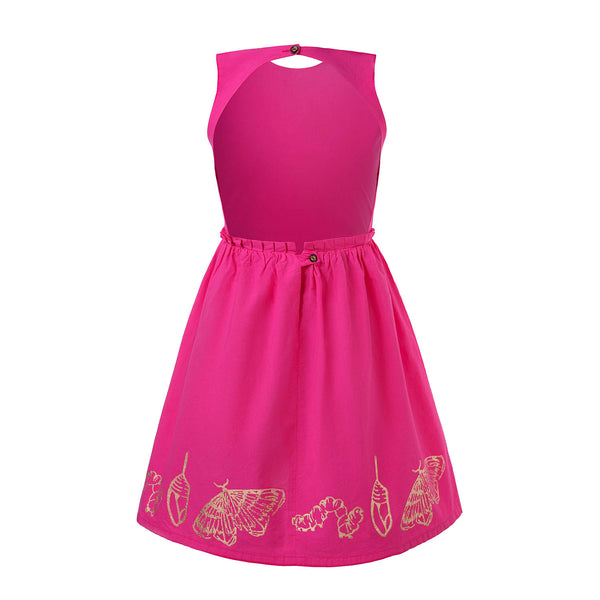 Hot Pink Dress with Cutout Back and Hand Block Print