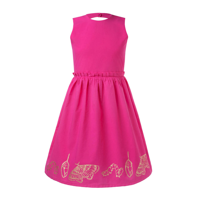 Hot Pink Dress with Hand Block Print