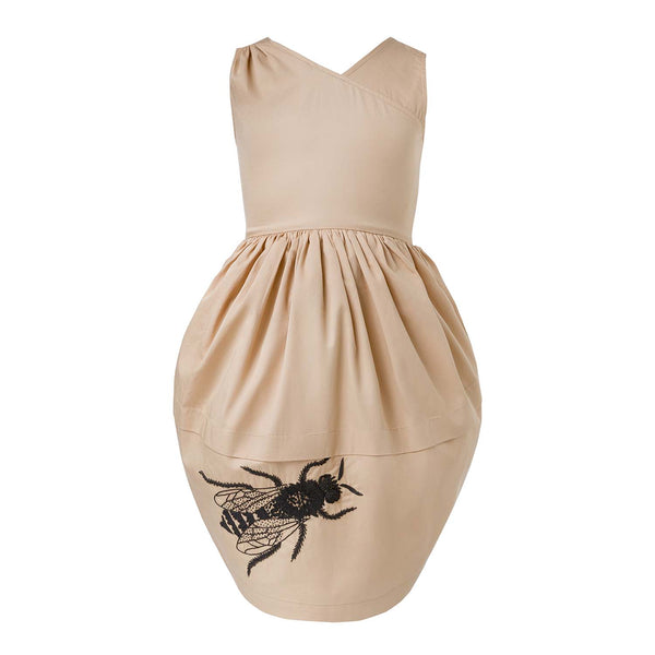 Beige Dress with Bee Hand Embroidery