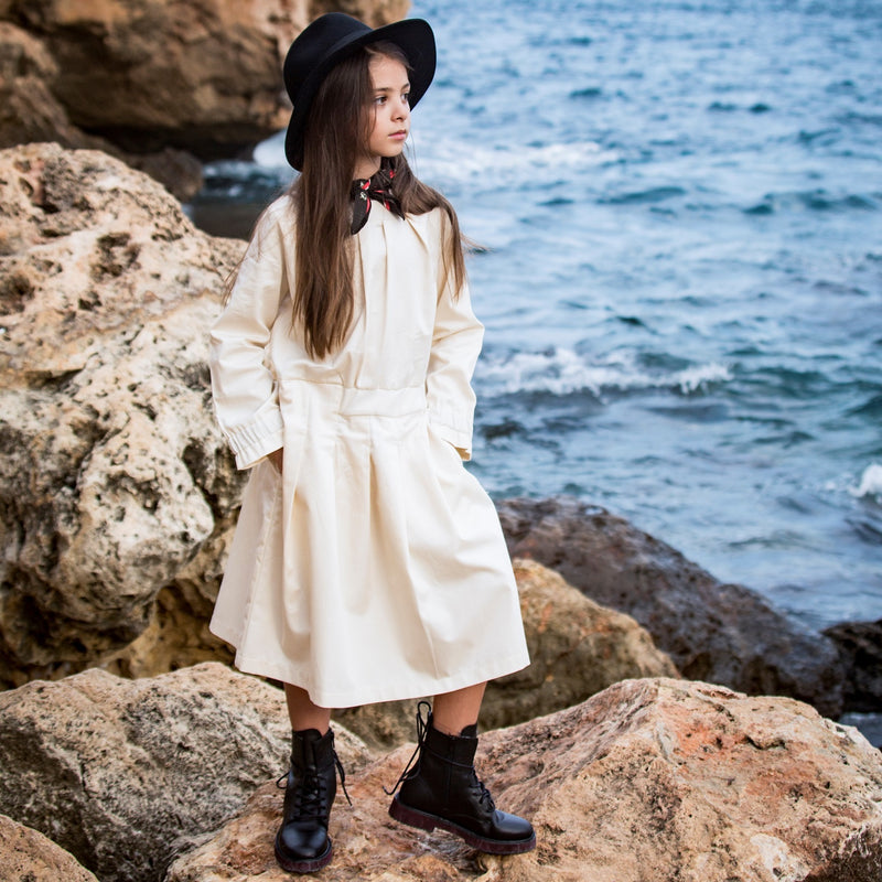 Beige Cotton Dress for Girls