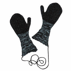 Knitted Black and Blue Gloves