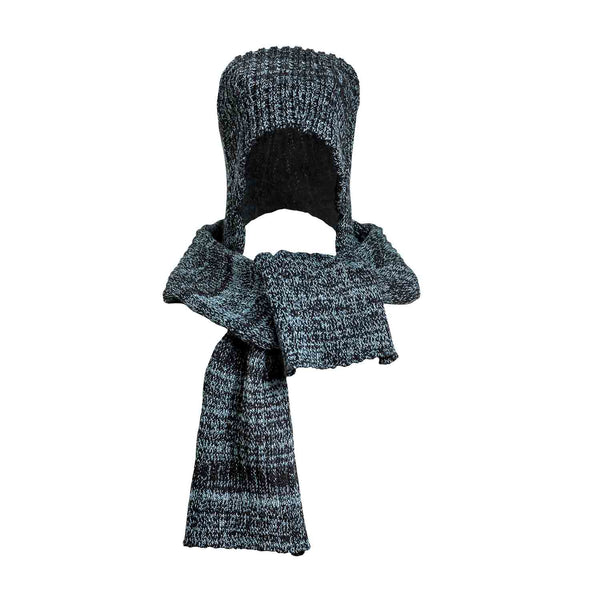 Black and Blue Knitted Hat-Scarf