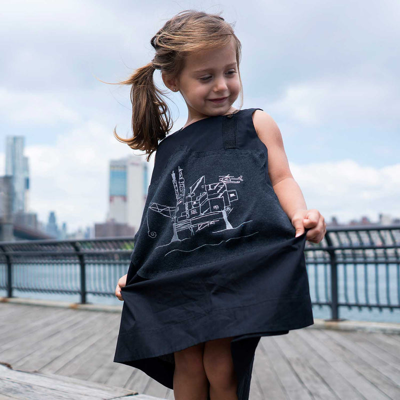 black trapeze gress for girls tent dress gils summer dress organic cotton