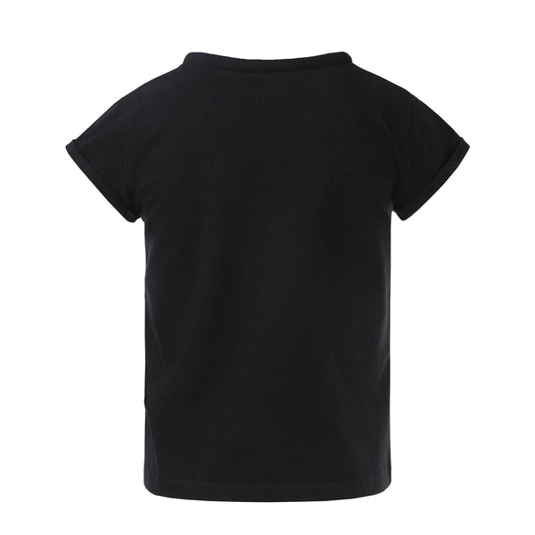 Black T-Shirt with Roll Collar