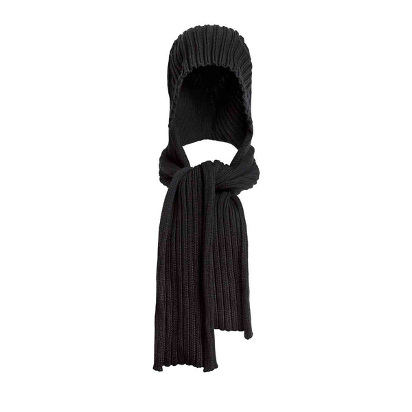 Black Knitted Hat-Scarf