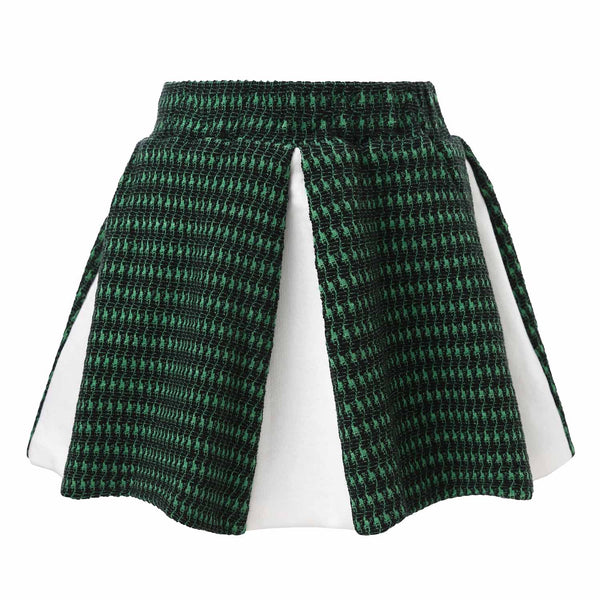 Mini Circle Skirt In Green and White