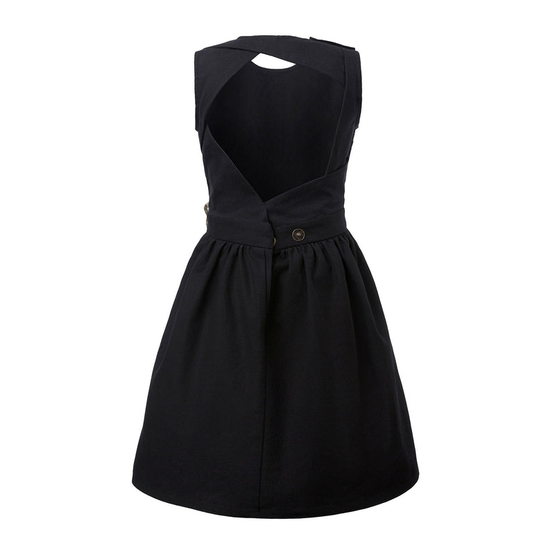 Black Dress with Cutout Back and Hemp Sash
