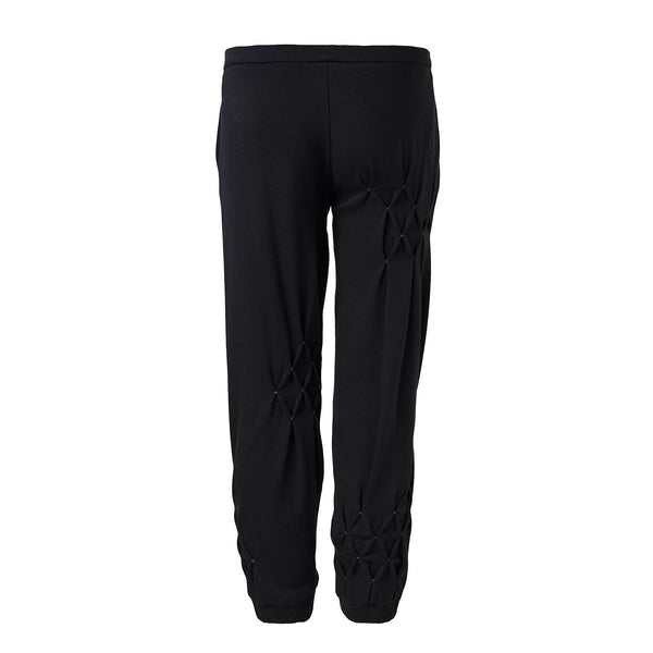 Black Track Pants with Hand Smock