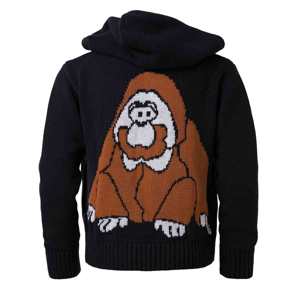 Organic Cotton Black Knitted Hoodie with Orangutan
