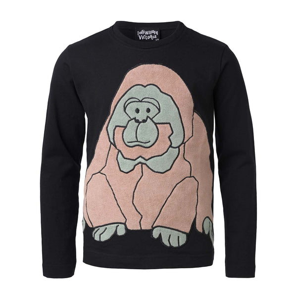 Black Longsleeve Shirt with Orangutan