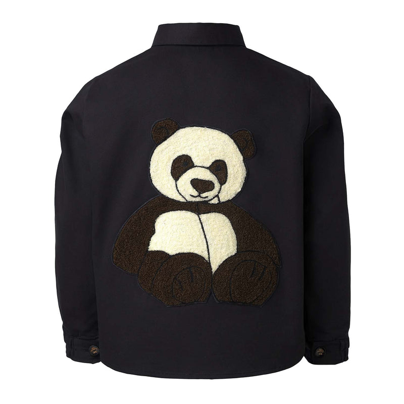 Black Shirt with Panda Embroidery