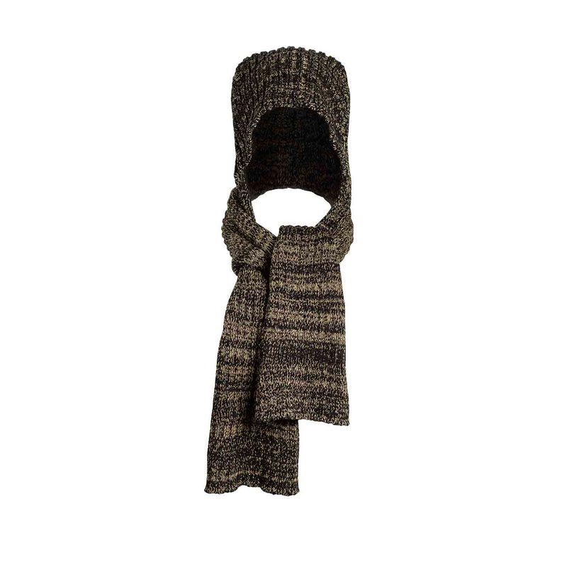 Black and Yellow Knitted Hat-Scarf