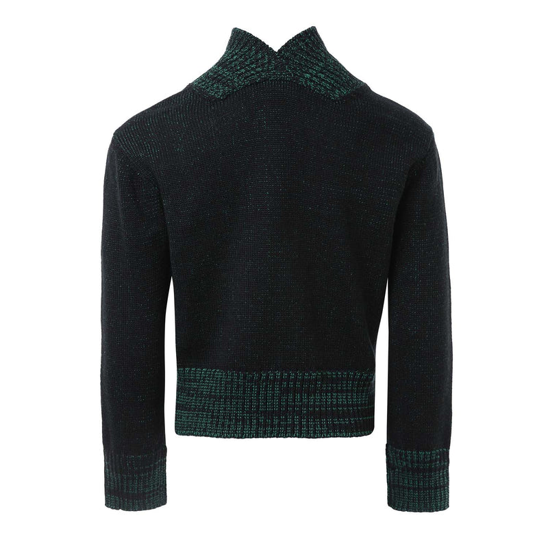 Knitted Black and Green Sweater