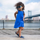 blue trapeze dress for girls, summer girls dress, organic cotton dress