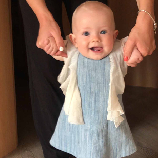 Elegant Blue Babydress with Mesh Details