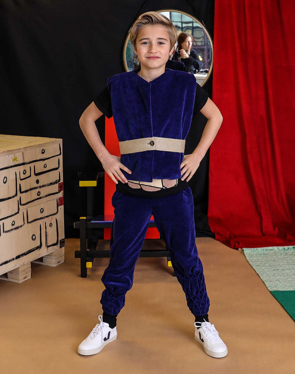 Blue Velvet Track Pants with Hand Smock
